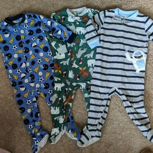 Boys zip footie pajama lot carters